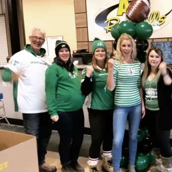 Who's excited for the @sskroughriders game this weekend? The staff of @a1rentallsequipment sure is! #a1rentallsequipment #cflwesternfinal #riderpride #greendayatwork #bigtime #supportlocal
